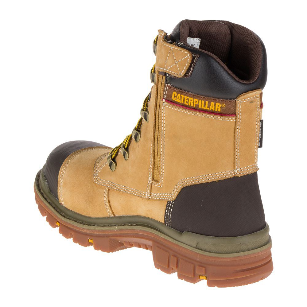 049658acece Παπούτσια Μποτάκια Ασφαλείας – Εργασίας Ψηλά Αδιάβροχα Καφέ Μελί Caterpillar  Premier Honey S3-HRO-WR-SRC